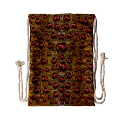 Angels In Gold And Flowers Of Paradise Rocks Drawstring Bag (small) by pepitasart