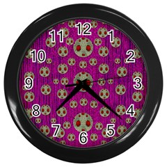 Ladybug In The Forest Of Fantasy Wall Clocks (black) by pepitasart