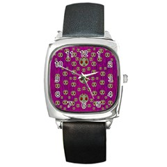 Ladybug In The Forest Of Fantasy Square Metal Watch by pepitasart