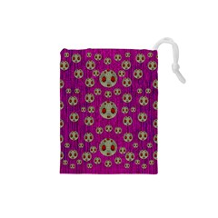 Ladybug In The Forest Of Fantasy Drawstring Pouches (small)  by pepitasart