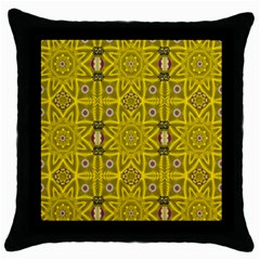 Stars And Flowers In The Forest Of Paradise Love Popart Throw Pillow Case (black) by pepitasart