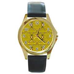 Stars And Flowers In The Forest Of Paradise Love Popart Round Gold Metal Watch by pepitasart