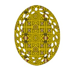 Stars And Flowers In The Forest Of Paradise Love Popart Oval Filigree Ornament (two Sides) by pepitasart