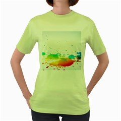 Colorful Abstract Women s Green T Shirt