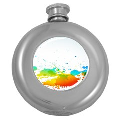 Colorful Abstract Round Hip Flask (5 Oz) by BangZart