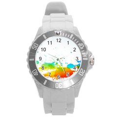 Colorful Abstract Round Plastic Sport Watch (l)