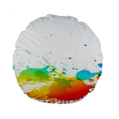 Colorful Abstract Standard 15  Premium Round Cushions by BangZart
