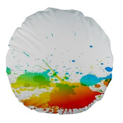 Colorful Abstract Large 18  Premium Round Cushions by BangZart