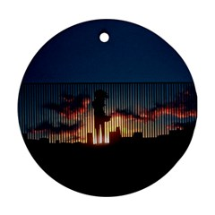 Art Sunset Anime Afternoon Round Ornament (two Sides) by BangZart
