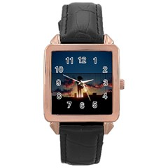 Art Sunset Anime Afternoon Rose Gold Leather Watch