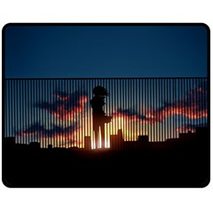 Art Sunset Anime Afternoon Double Sided Fleece Blanket (medium)  by BangZart