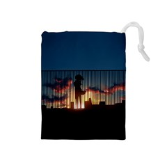Art Sunset Anime Afternoon Drawstring Pouches (medium)  by BangZart