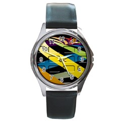 Colorful Docking Frame Round Metal Watch