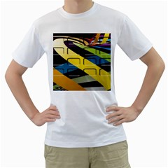 Colorful Docking Frame Men s T Shirt (white) (two Sided)