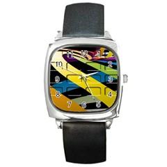 Colorful Docking Frame Square Metal Watch
