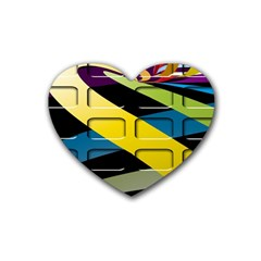 Colorful Docking Frame Rubber Coaster (heart)  by BangZart
