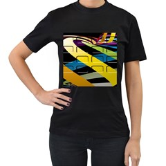Colorful Docking Frame Women s T Shirt (black)