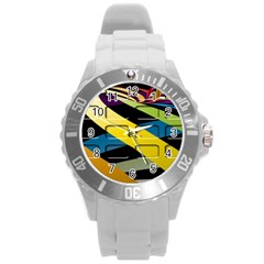 Colorful Docking Frame Round Plastic Sport Watch (l) by BangZart