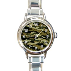 Military Vector Pattern Texture Round Italian Charm Watch