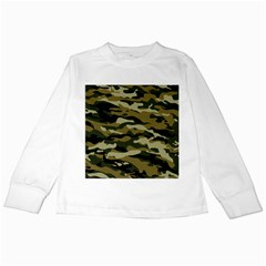 Military Vector Pattern Texture Kids Long Sleeve T Shirts