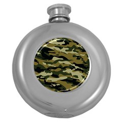 Military Vector Pattern Texture Round Hip Flask (5 Oz) by BangZart