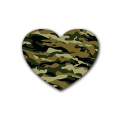 Military Vector Pattern Texture Rubber Coaster (heart)