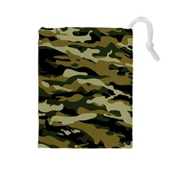 Military Vector Pattern Texture Drawstring Pouches (large)  by BangZart