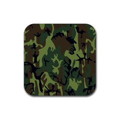 Military Camouflage Pattern Rubber Coaster (square)