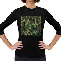 Military Camouflage Pattern Women s Long Sleeve Dark T Shirts