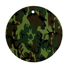Military Camouflage Pattern Round Ornament (two Sides)