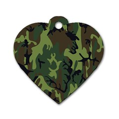 Military Camouflage Pattern Dog Tag Heart (one Side)
