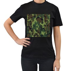 Military Camouflage Pattern Women s T Shirt (black)