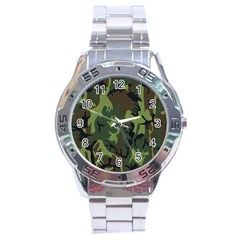 Military Camouflage Pattern Stainless Steel Analogue Watch by BangZart