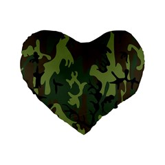 Military Camouflage Pattern Standard 16  Premium Heart Shape Cushions by BangZart