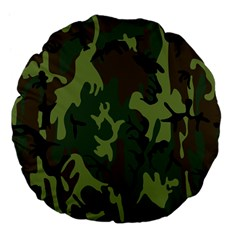 Military Camouflage Pattern Large 18  Premium Flano Round Cushions by BangZart