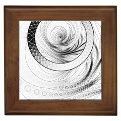 Enso, A Perfect Black And White Zen Fractal Circle Framed Tiles by beautifulfractals