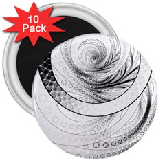 Enso, A Perfect Black And White Zen Fractal Circle 3  Magnets (10 Pack)  by jayaprime