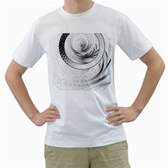 Enso, A Perfect Black And White Zen Fractal Circle Men s T Shirt (white) (two Sided) by jayaprime