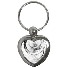 Enso, A Perfect Black And White Zen Fractal Circle Key Chains (heart)  by jayaprime