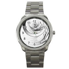 Enso, A Perfect Black And White Zen Fractal Circle Sport Metal Watch by beautifulfractals