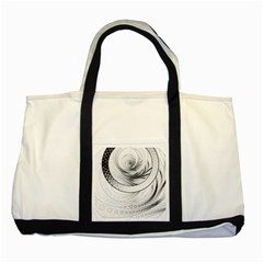 Enso, A Perfect Black And White Zen Fractal Circle Two Tone Tote Bag by jayaprime