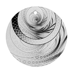 Enso, A Perfect Black And White Zen Fractal Circle Round Ornament (two Sides) by jayaprime