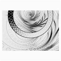 Enso, A Perfect Black And White Zen Fractal Circle Large Glasses Cloth (2 Side) by jayaprime