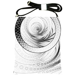 Enso, A Perfect Black And White Zen Fractal Circle Shoulder Sling Bags by jayaprime