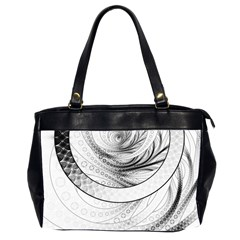 Enso, A Perfect Black And White Zen Fractal Circle Office Handbags (2 Sides)  by jayaprime