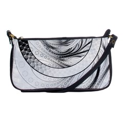 Enso, A Perfect Black And White Zen Fractal Circle Shoulder Clutch Bags by jayaprime