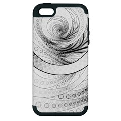Enso, A Perfect Black And White Zen Fractal Circle Apple Iphone 5 Hardshell Case (pc+silicone) by beautifulfractals
