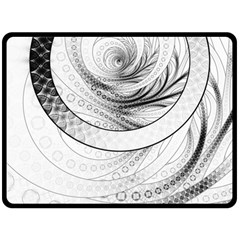 Enso, A Perfect Black And White Zen Fractal Circle Double Sided Fleece Blanket (large)  by beautifulfractals