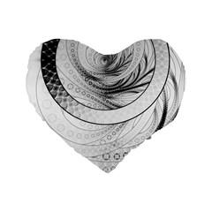 Enso, A Perfect Black And White Zen Fractal Circle Standard 16  Premium Flano Heart Shape Cushions by jayaprime