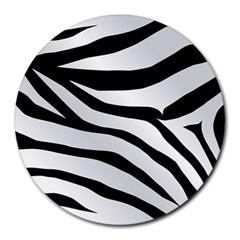 White Tiger Skin Round Mousepads